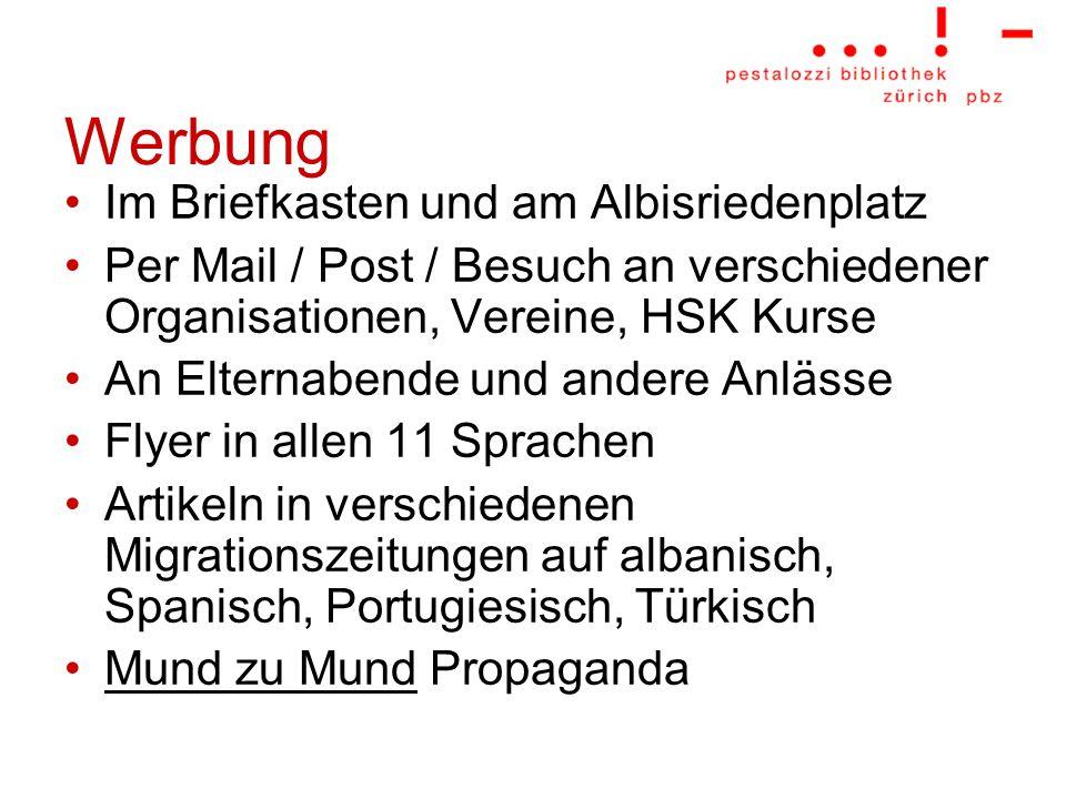 Werbung Im Briefkasten und am Albisriedenplatz Per Mail / Post / Besuch an verschiedener Organisationen, Vereine, HSK Kurse An Elternabende und andere