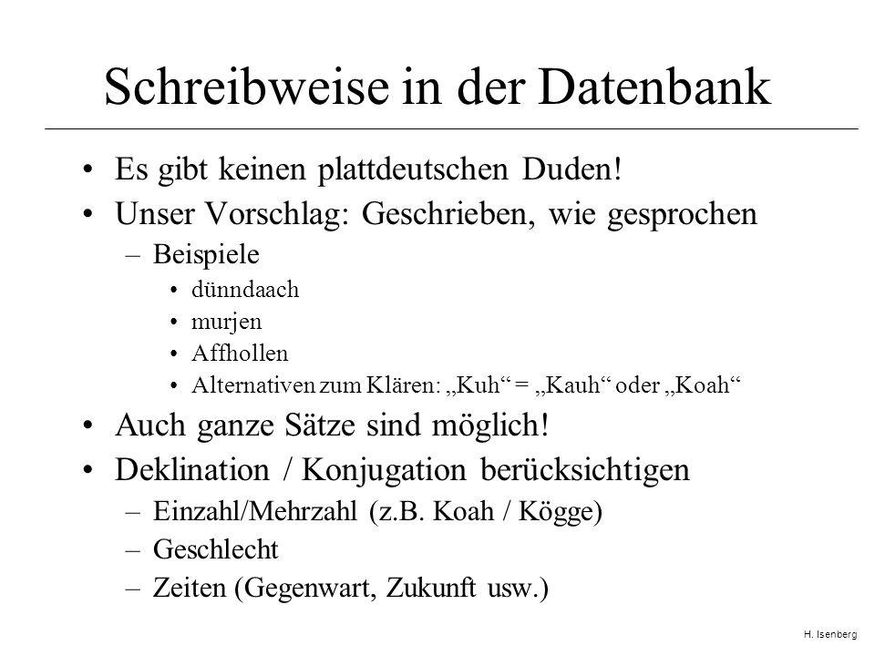 H. Isenberg Schreibweise in der Datenbank Es gibt keinen plattdeutschen Duden.