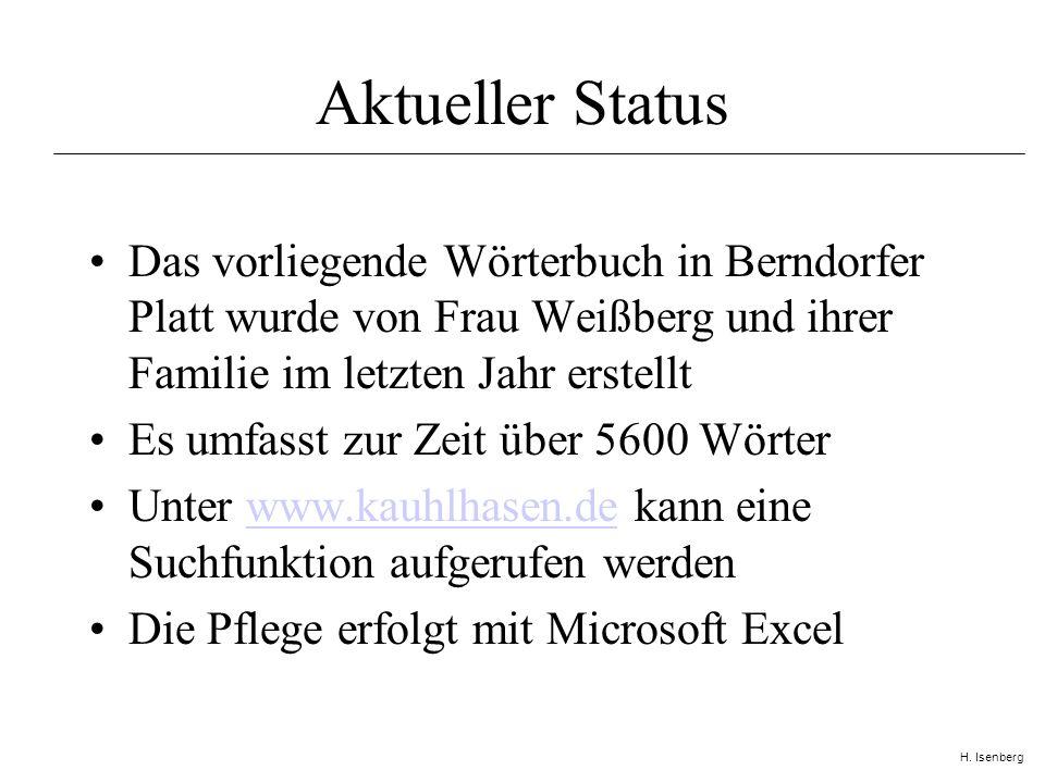 H. Isenberg So siehts aus! (Excel)