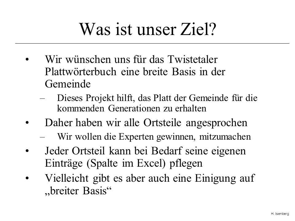 H. Isenberg Was ist unser Ziel.