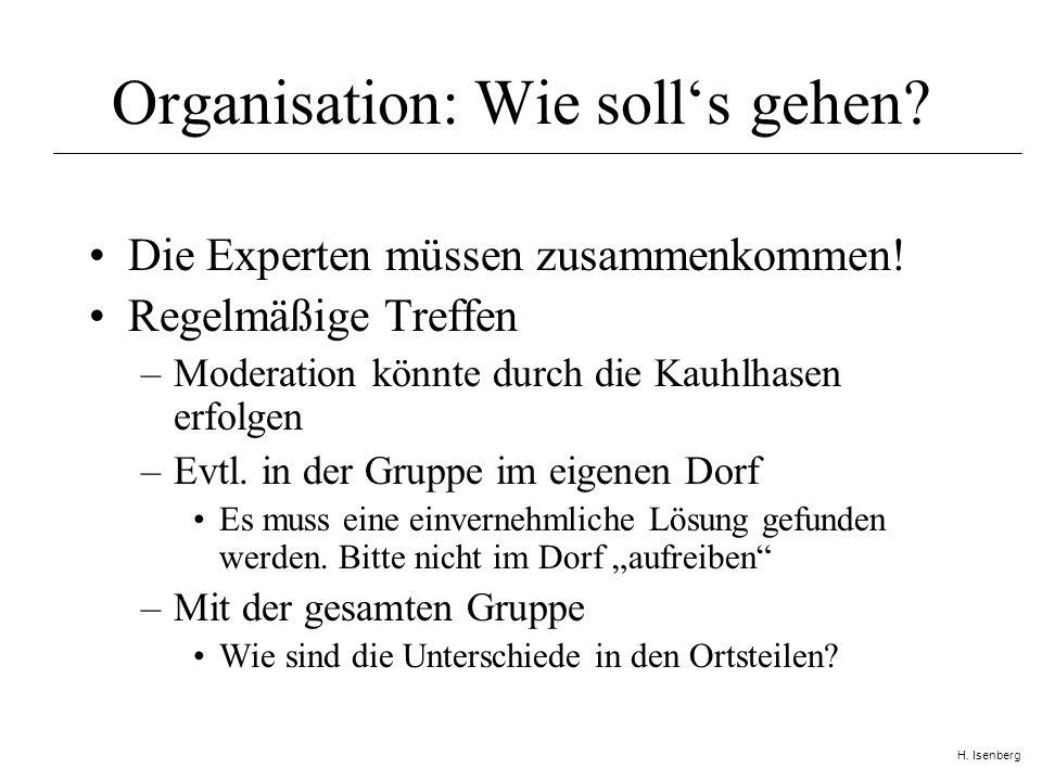 H. Isenberg Organisation: Wie solls gehen. Die Experten müssen zusammenkommen.