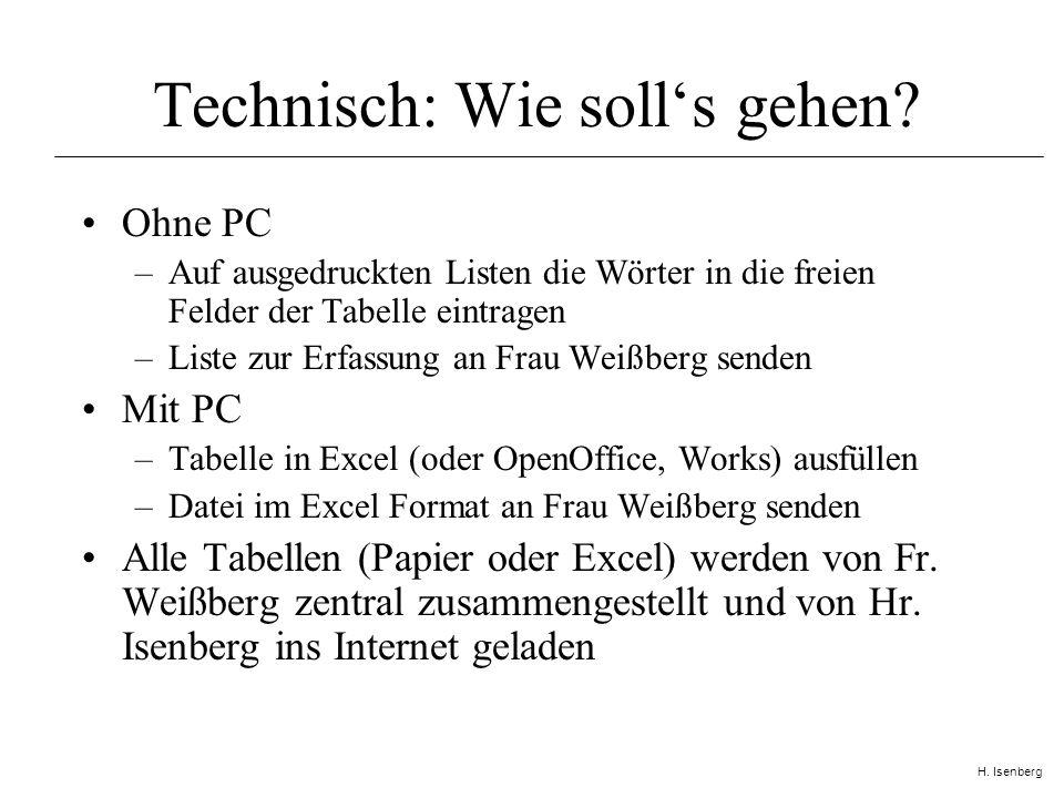 H. Isenberg Technisch: Wie solls gehen.
