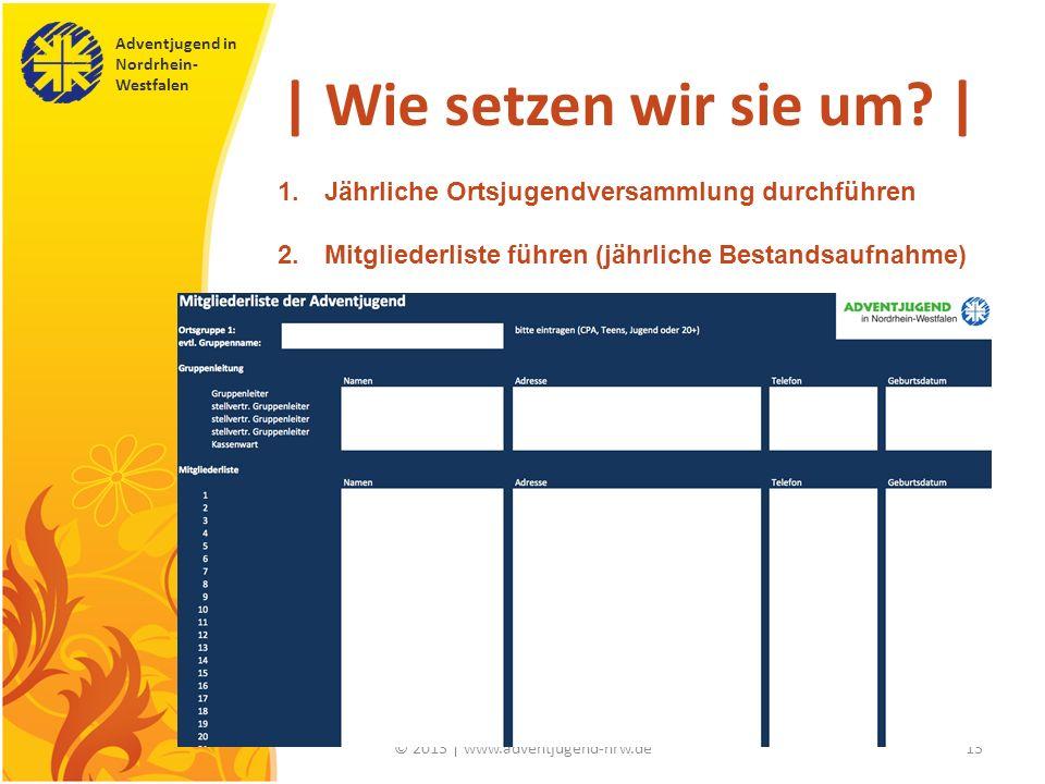 Adventjugend in Nordrhein- Westfalen © 2013 | www.adventjugend-nrw.de13 | Wie setzen wir sie um? | 1. Jährliche Ortsjugendversammlung durchführen 2. M
