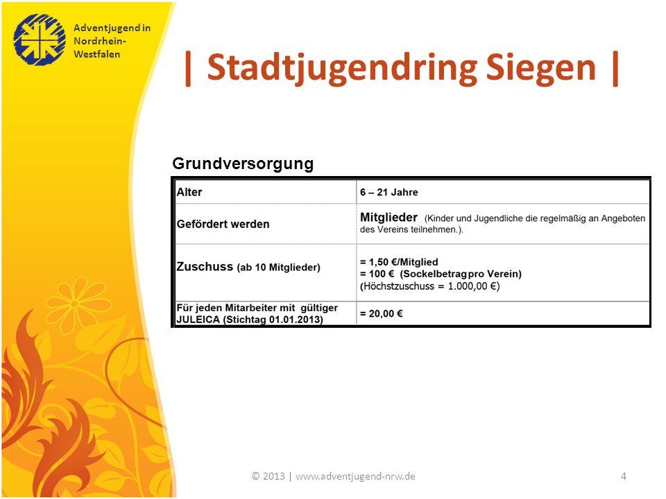 Adventjugend in Nordrhein- Westfalen © 2013 | www.adventjugend-nrw.de4 | Stadtjugendring Siegen | Grundversorgung