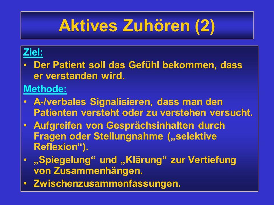 Aktives Zuhören (1) Mit dem dritten Ohr hören, d.h. nicht nur hören was der Patient sagt, sondern auch seine Gefühle, Motive und Einstellungen, die hi