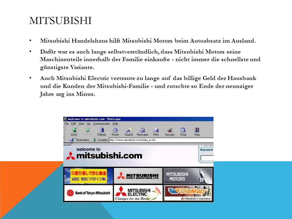 MITSUBISHI Mitsubishi Handelshaus hilft Mitsubishi Motors beim Autoabsatz im Ausland. Dafür war es auch lange selbstverständlich, dass Mitsubishi Moto