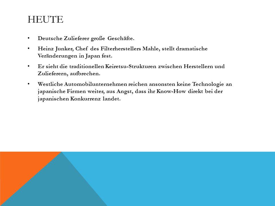 HEUTE Deutsche Zulieferer große Geschäfte. Heinz Junker, Chef des Filterherstellers Mahle, stellt dramatische Veränderungen in Japan fest. Er sieht di