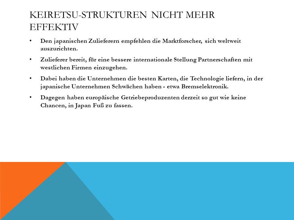 KEIRETSU-STRUKTUREN NICHT MEHR EFFEKTIV Den japanischen Zulieferern empfehlen die Marktforscher, sich weltweit auszurichten. Zulieferer bereit, für ei