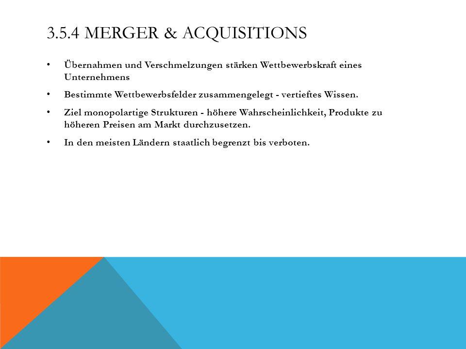 3.5.4 MERGER & ACQUISITIONS Übernahmen und Verschmelzungen stärken Wettbewerbskraft eines Unternehmens Bestimmte Wettbewerbsfelder zusammengelegt - ve