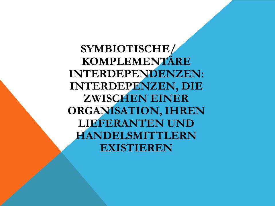 SYMBIOTISCHE/ KOMPLEMENTÄRE INTERDEPENDENZEN: INTERDEPENZEN, DIE ZWISCHEN EINER ORGANISATION, IHREN LIEFERANTEN UND HANDELSMITTLERN EXISTIEREN