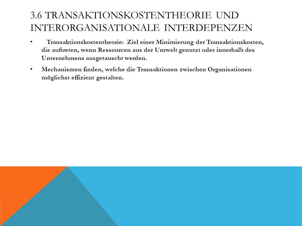 3.6 TRANSAKTIONSKOSTENTHEORIE UND INTERORGANISATIONALE INTERDEPENZEN Transaktionskostentheorie: Ziel einer Minimierung der Transaktionskosten, die auf