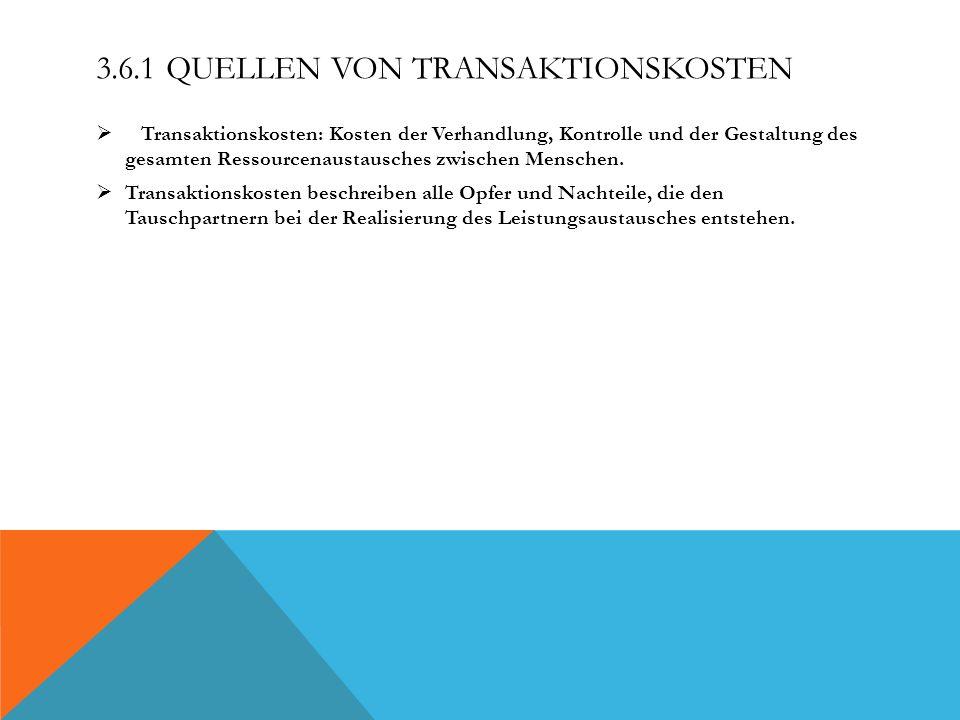 3.6.1 QUELLEN VON TRANSAKTIONSKOSTEN Transaktionskosten: Kosten der Verhandlung, Kontrolle und der Gestaltung des gesamten Ressourcenaustausches zwisc