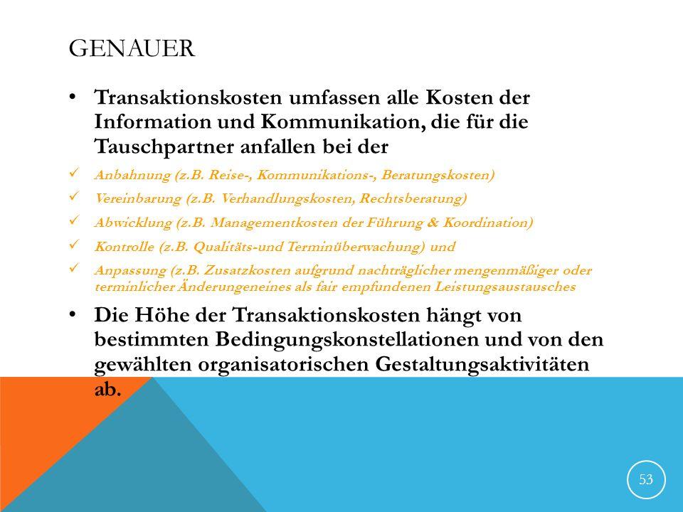 GENAUER Transaktionskosten umfassen alle Kosten der Information und Kommunikation, die für die Tauschpartner anfallen bei der Anbahnung (z.B. Reise-,