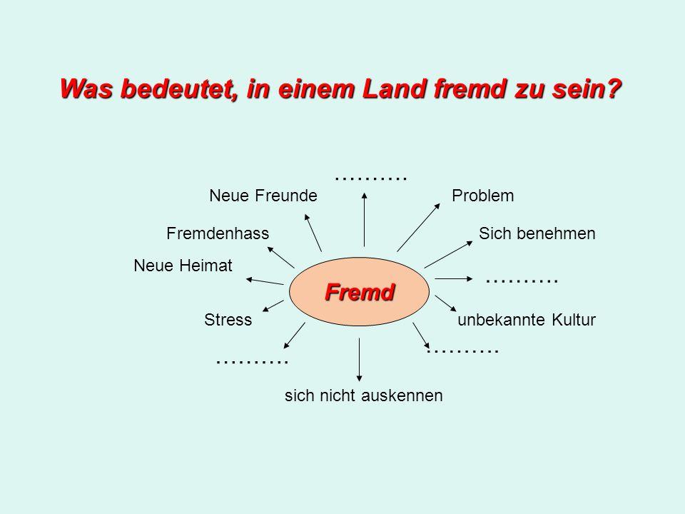 Was bedeutet, in einem Land fremd zu sein? Fremd Problem Sich benehmen unbekannte Kultur ………. sich nicht auskennen ………. Stress Neue Heimat Fremdenhass