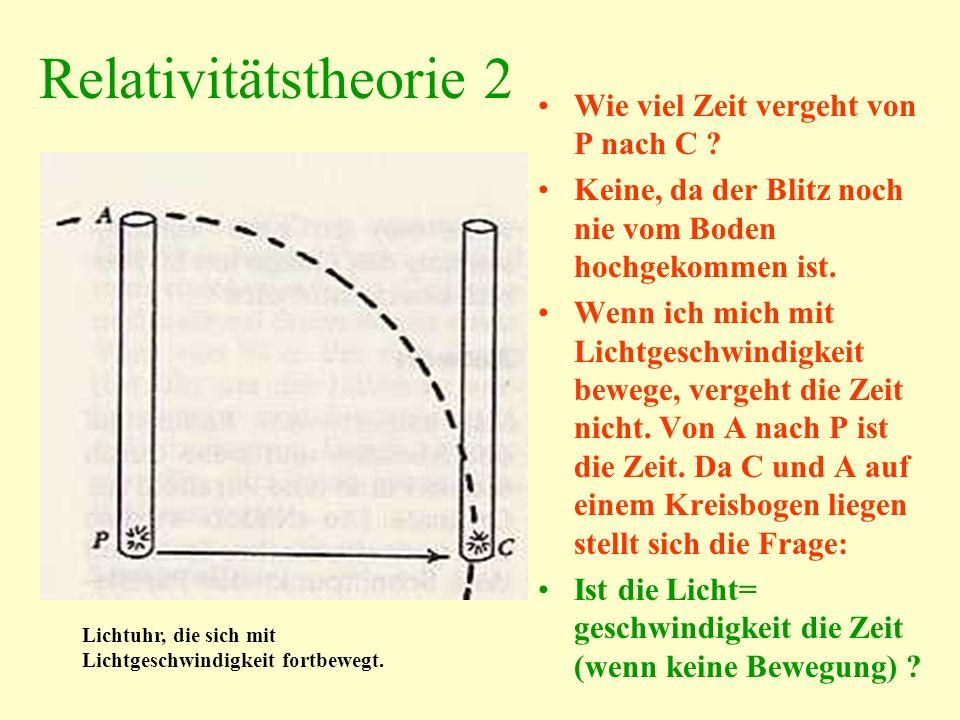 Relativitätstheorie 2 Wie viel Zeit vergeht von P nach C ? Keine, da der Blitz noch nie vom Boden hochgekommen ist. Wenn ich mich mit Lichtgeschwindig