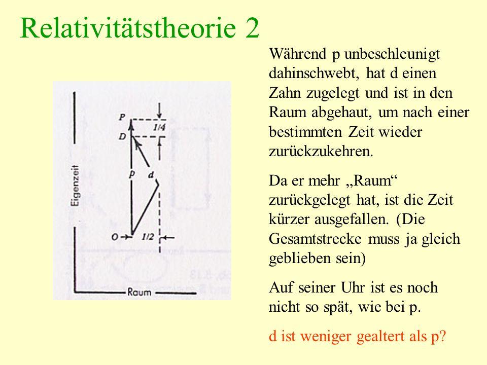 Relativitätstheorie 2 Während p unbeschleunigt dahinschwebt, hat d einen Zahn zugelegt und ist in den Raum abgehaut, um nach einer bestimmten Zeit wie