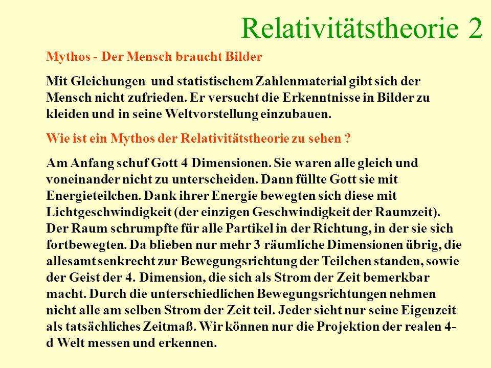 Relativitätstheorie 2 Mythos - Der Mensch braucht Bilder Mit Gleichungen und statistischem Zahlenmaterial gibt sich der Mensch nicht zufrieden. Er ver