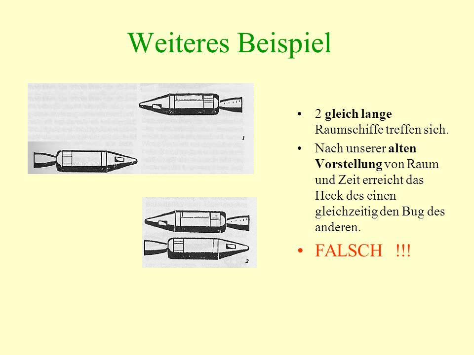 Weiteres Beispiel 2 gleich lange Raumschiffe treffen sich. Nach unserer alten Vorstellung von Raum und Zeit erreicht das Heck des einen gleichzeitig d