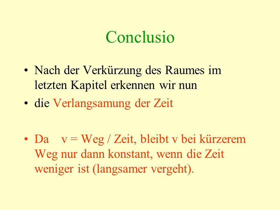 Conclusio Nach der Verkürzung des Raumes im letzten Kapitel erkennen wir nun die Verlangsamung der Zeit Da v = Weg / Zeit, bleibt v bei kürzerem Weg n