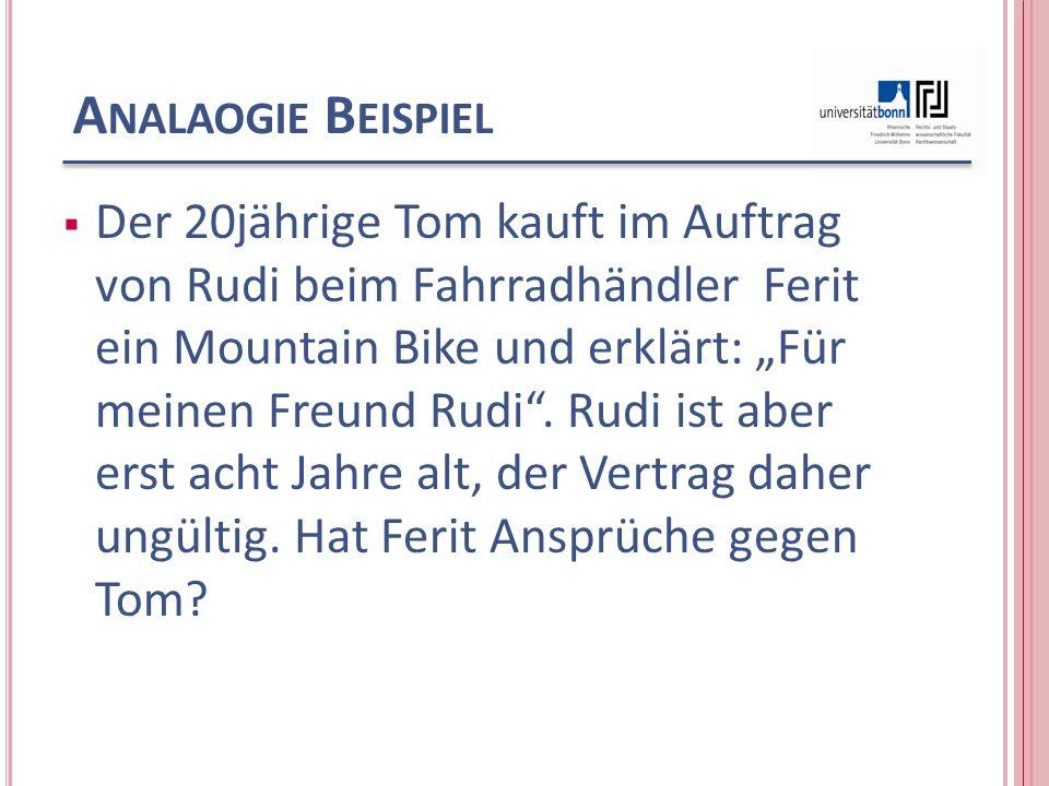 A NALAOGIE B EISPIEL Der 20jährige Tom kauft im Auftrag von Rudi beim Fahrradhändler Ferit ein Mountain Bike und erklärt: Für meinen Freund Rudi.