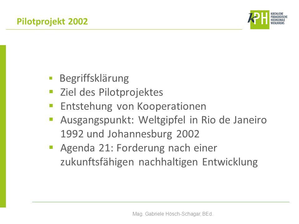 Begriffsklärung Ziel des Pilotprojektes Entstehung von Kooperationen Ausgangspunkt: Weltgipfel in Rio de Janeiro 1992 und Johannesburg 2002 Agenda 21: