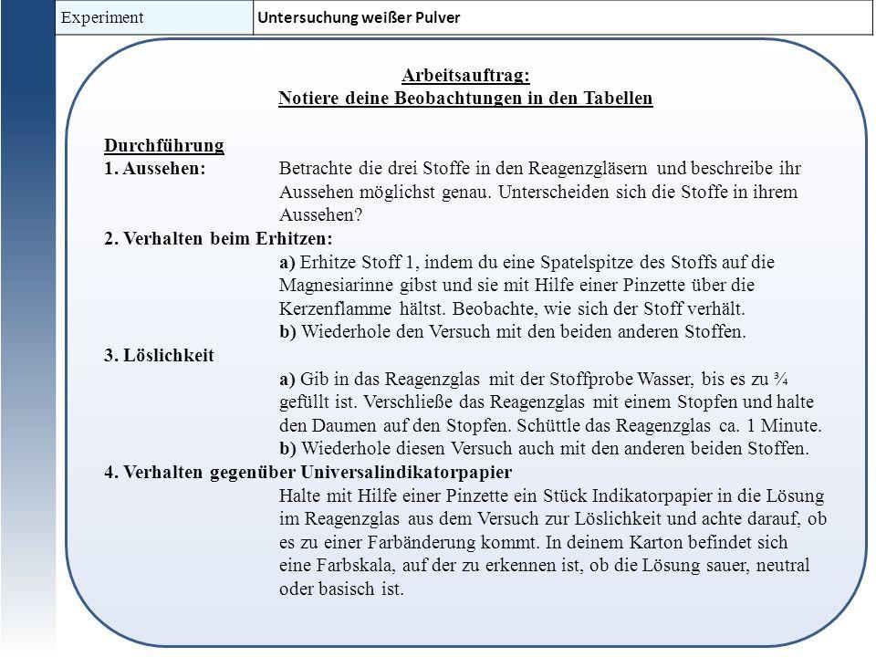 Experiment Untersuchung weißer Pulver Arbeitsauftrag: Notiere deine Beobachtungen in den Tabellen Durchführung 1.