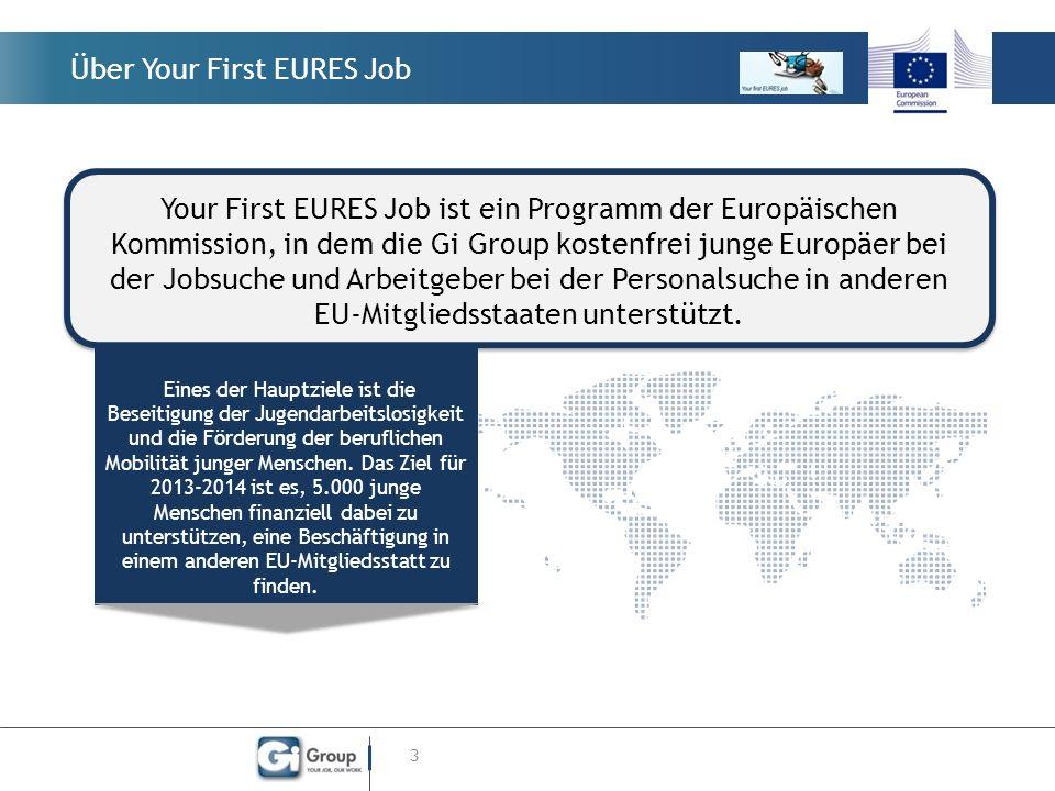 Über Your First EURES Job 3 Eines der Hauptziele ist die Beseitigung der Jugendarbeitslosigkeit und die Förderung der beruflichen Mobilität junger Menschen.