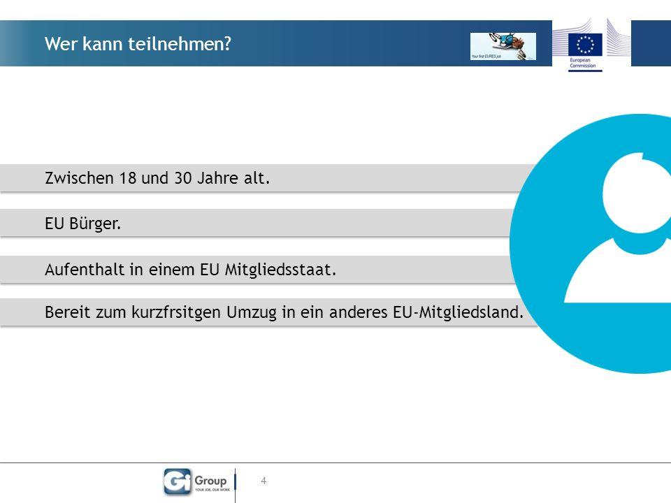 Wer kann teilnehmen? 4 Zwischen 18 und 30 Jahre alt. EU Bürger. Aufenthalt in einem EU Mitgliedsstaat. Bereit zum kurzfrsitgen Umzug in ein anderes EU