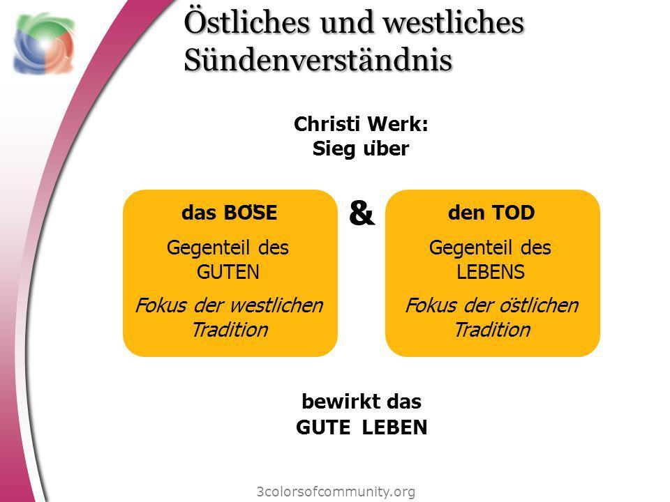 Östliches und westliches Sündenverständnis 3colorsofcommunity.org das BÖSE Gegenteil des GUTEN Fokus der westlichen Tradition den TOD Gegenteil des L