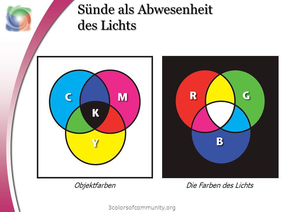 Sünde als Abwesenheit des Lichts 3colorsofcommunity.org ObjektfarbenDie Farben des Lichts