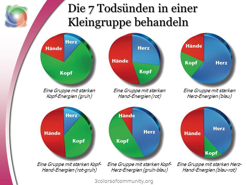 Die 7 Todsünden in einer Kleingruppe behandeln 3colorsofcommunity.org Eine Gruppe mit starken Kopf-Energien (grün) Eine Gruppe mit starken Hand-Energ