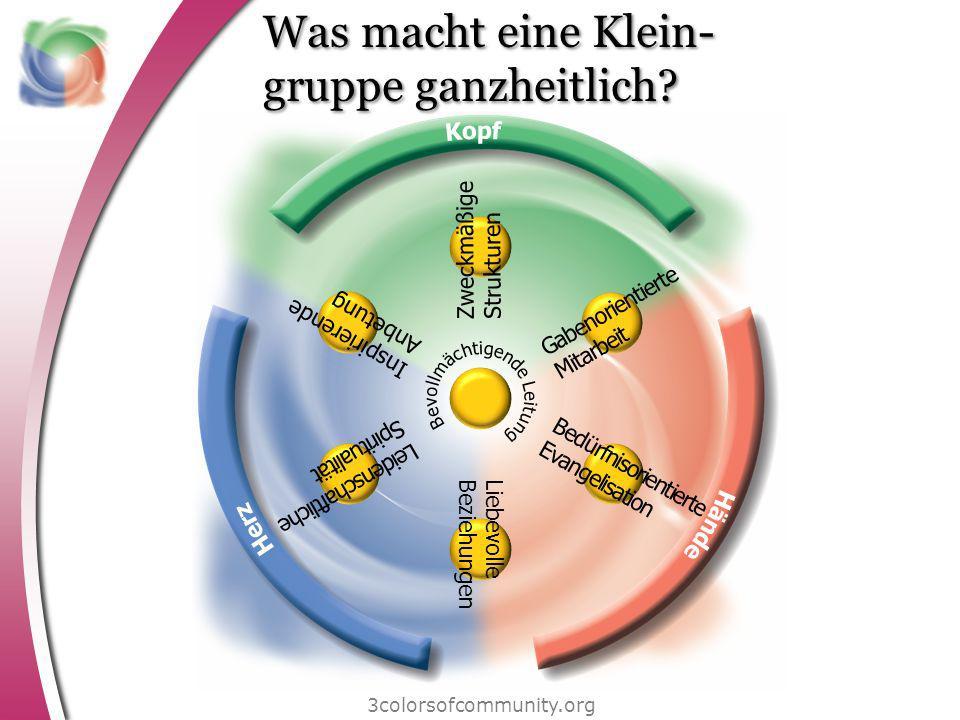 Was macht eine Klein- gruppe ganzheitlich? 3colorsofcommunity.org Z w e c k m ä ß i g e S t r u k t u r e n I n s p i r i e r e n d e A n b e t u n g