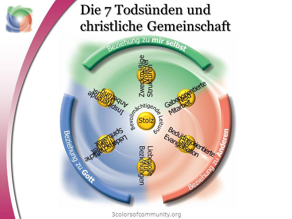 Die 7 Todsünden und christliche Gemeinschaft 3colorsofcommunity.org Zweckmäßige Strukturen Inspirierende Anbetung Leidenschaftliche Spiritualität Lieb