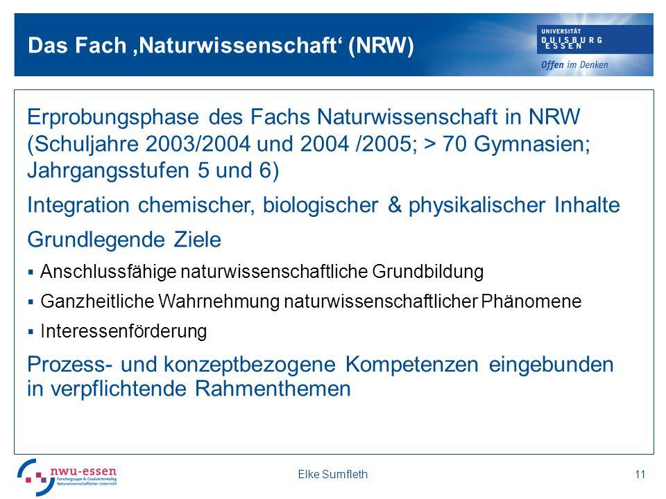 Erprobungsphase des Fachs Naturwissenschaft in NRW (Schuljahre 2003/2004 und 2004 /2005; > 70 Gymnasien; Jahrgangsstufen 5 und 6) Integration chemischer, biologischer & physikalischer Inhalte Grundlegende Ziele Anschlussfähige naturwissenschaftliche Grundbildung Ganzheitliche Wahrnehmung naturwissenschaftlicher Phänomene Interessenförderung Prozess- und konzeptbezogene Kompetenzen eingebunden in verpflichtende Rahmenthemen 11Elke Sumfleth