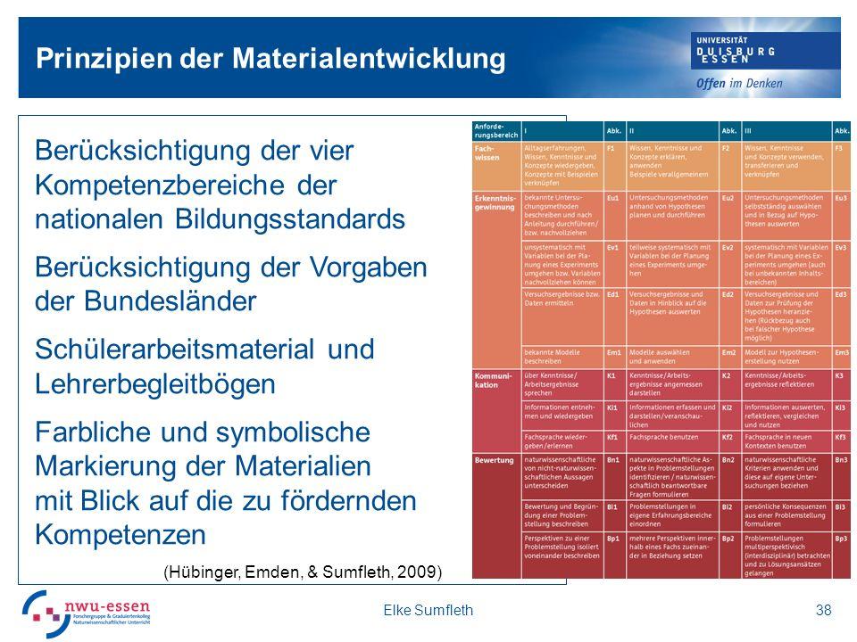 Prinzipien der Materialentwicklung Elke Sumfleth38 Berücksichtigung der vier Kompetenzbereiche der nationalen Bildungsstandards Berücksichtigung der V