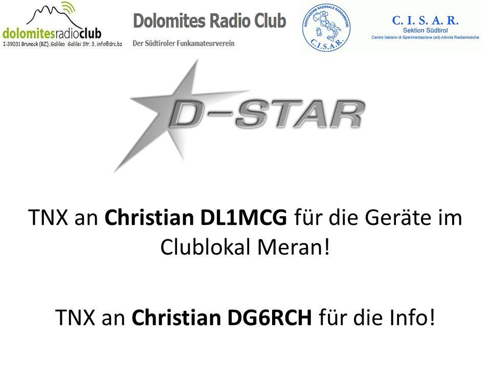 TNX an Christian DL1MCG für die Geräte im Clublokal Meran! TNX an Christian DG6RCH für die Info!