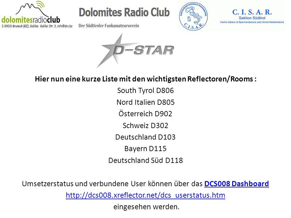Hier nun eine kurze Liste mit den wichtigsten Reflectoren/Rooms : South Tyrol D806 Nord Italien D805 Österreich D902 Schweiz D302 Deutschland D103 Bay