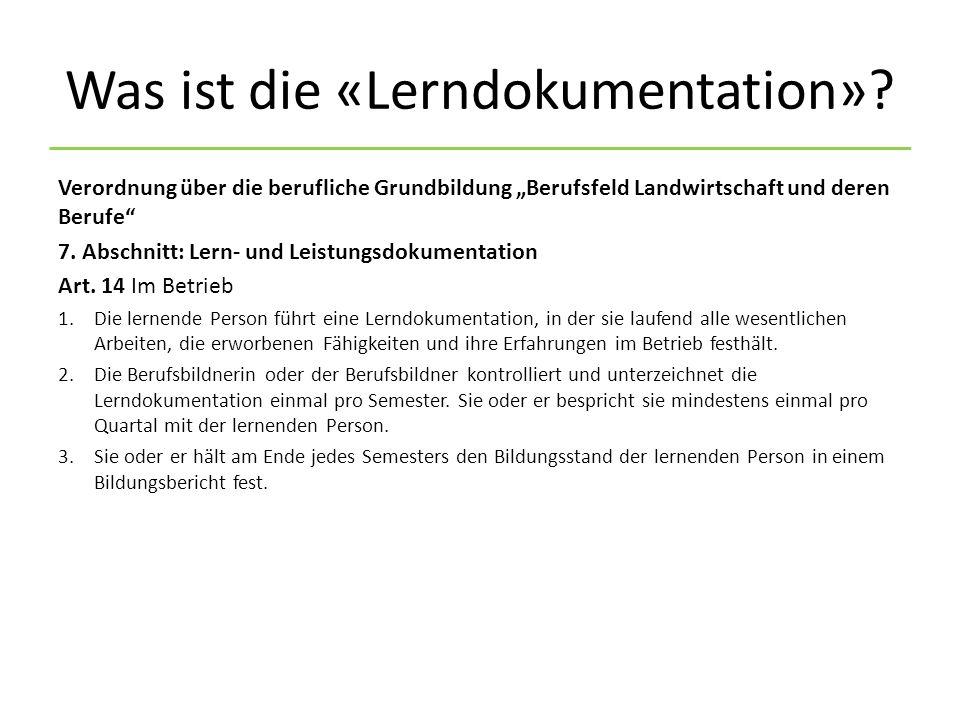 Was ist die «Lerndokumentation».