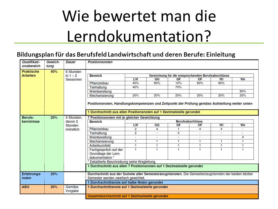 Wie bewertet man die Lerndokumentation.