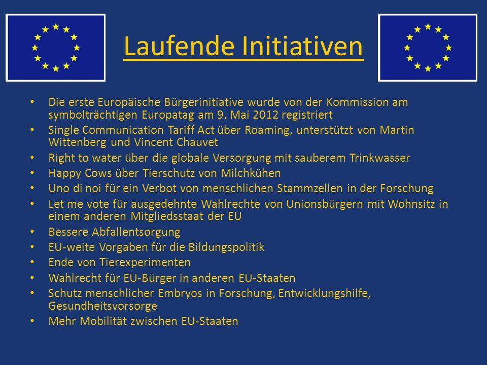 Laufende Initiativen Die erste Europäische Bürgerinitiative wurde von der Kommission am symbolträchtigen Europatag am 9. Mai 2012 registriert Single C