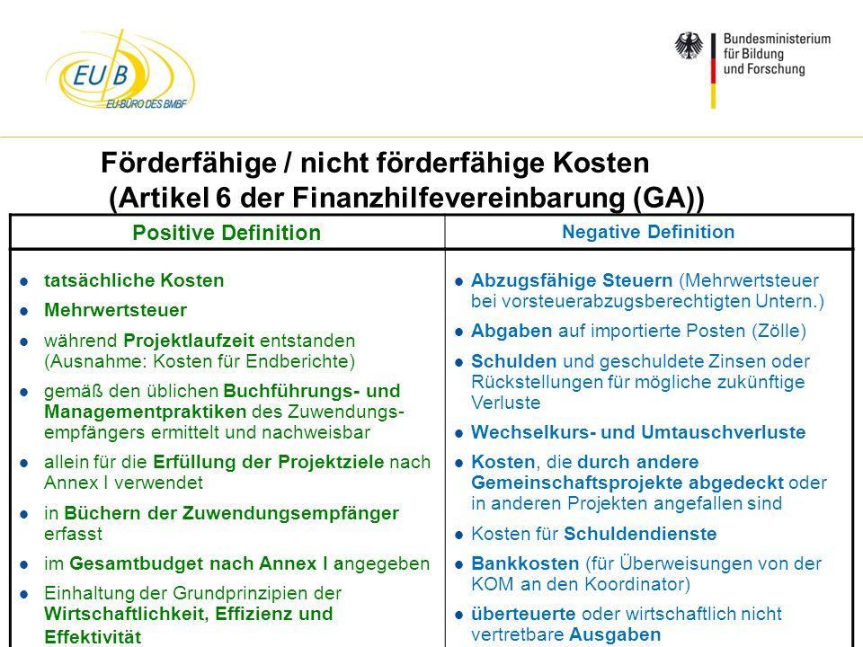 W. Diekmann, IHK Trier, 05.02.2014 Förderfähige / nicht förderfähige Kosten (Artikel 6 der Finanzhilfevereinbarung (GA)) l tatsächliche Kosten l Mehrw