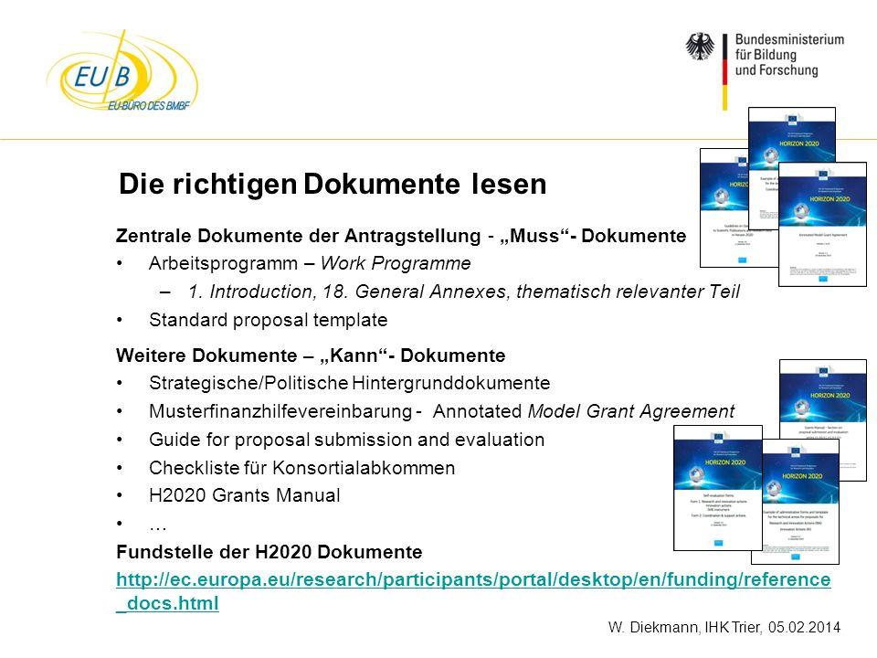 W. Diekmann, IHK Trier, 05.02.2014 Die richtigen Dokumente lesen Zentrale Dokumente der Antragstellung - Muss- Dokumente Arbeitsprogramm – Work Progra
