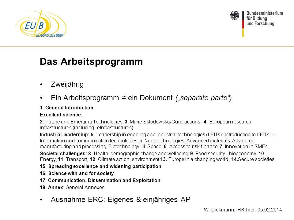 W. Diekmann, IHK Trier, 05.02.2014 Das Arbeitsprogramm Zweijährig Ein Arbeitsprogramm ein Dokument (separate parts) 1. General Introduction Excellent