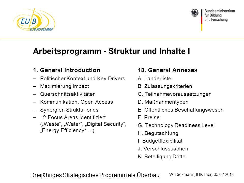 W. Diekmann, IHK Trier, 05.02.2014 Arbeitsprogramm - Struktur und Inhalte I 1. General Introduction –Politischer Kontext und Key Drivers –Maximierung