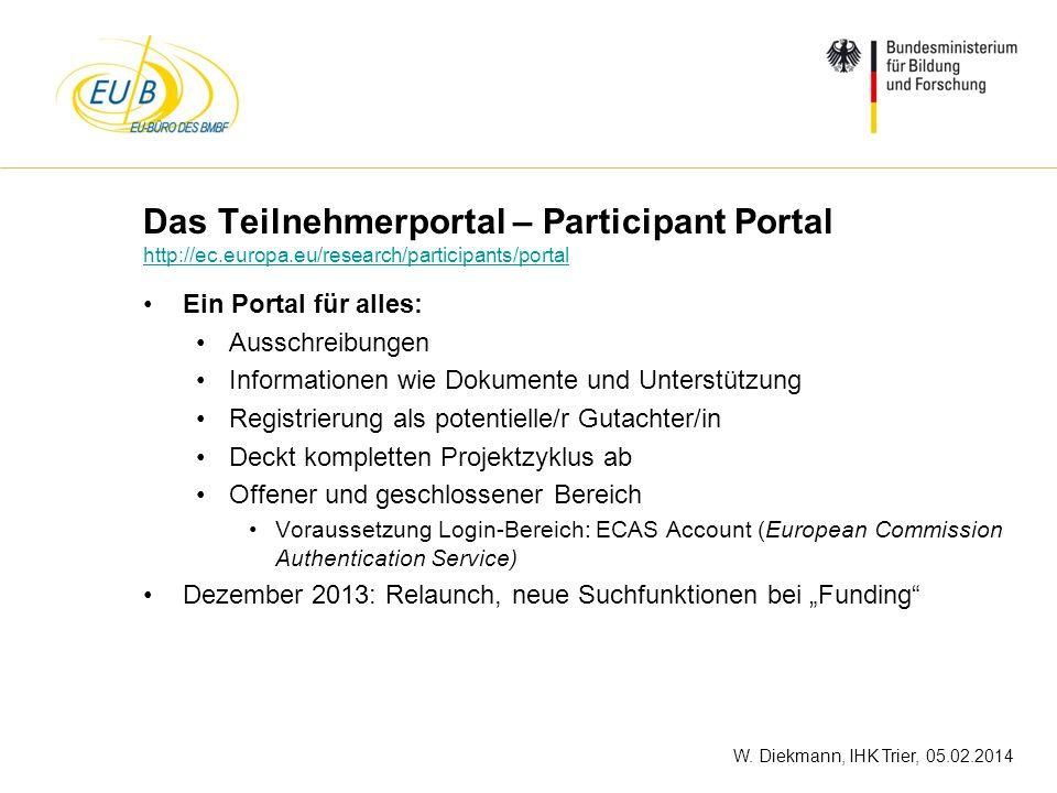 W. Diekmann, IHK Trier, 05.02.2014 Das Teilnehmerportal – Participant Portal http://ec.europa.eu/research/participants/portal http://ec.europa.eu/rese