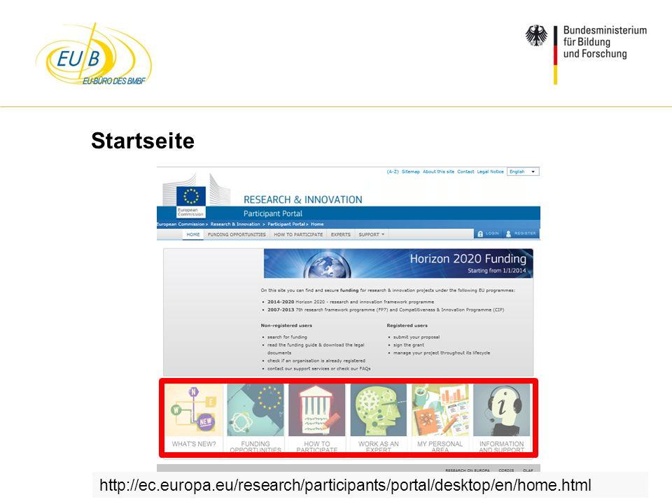 W. Diekmann, IHK Trier, 05.02.2014 Startseite http://ec.europa.eu/research/participants/portal/desktop/en/home.html
