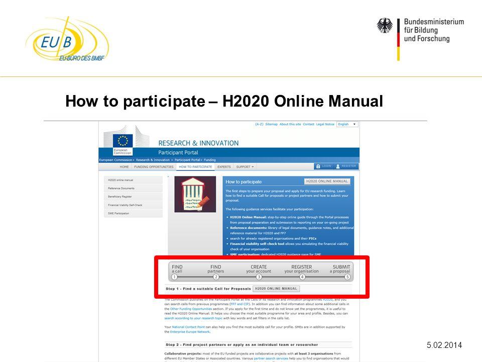 W. Diekmann, IHK Trier, 05.02.2014 How to participate – H2020 Online Manual