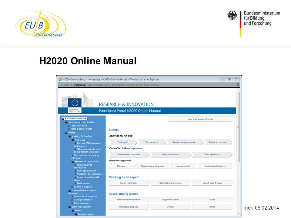 W. Diekmann, IHK Trier, 05.02.2014 H2020 Online Manual