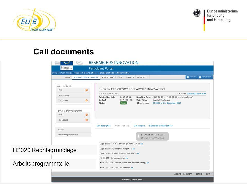 W. Diekmann, IHK Trier, 05.02.2014 Call documents H2020 Rechtsgrundlage Arbeitsprogrammteile