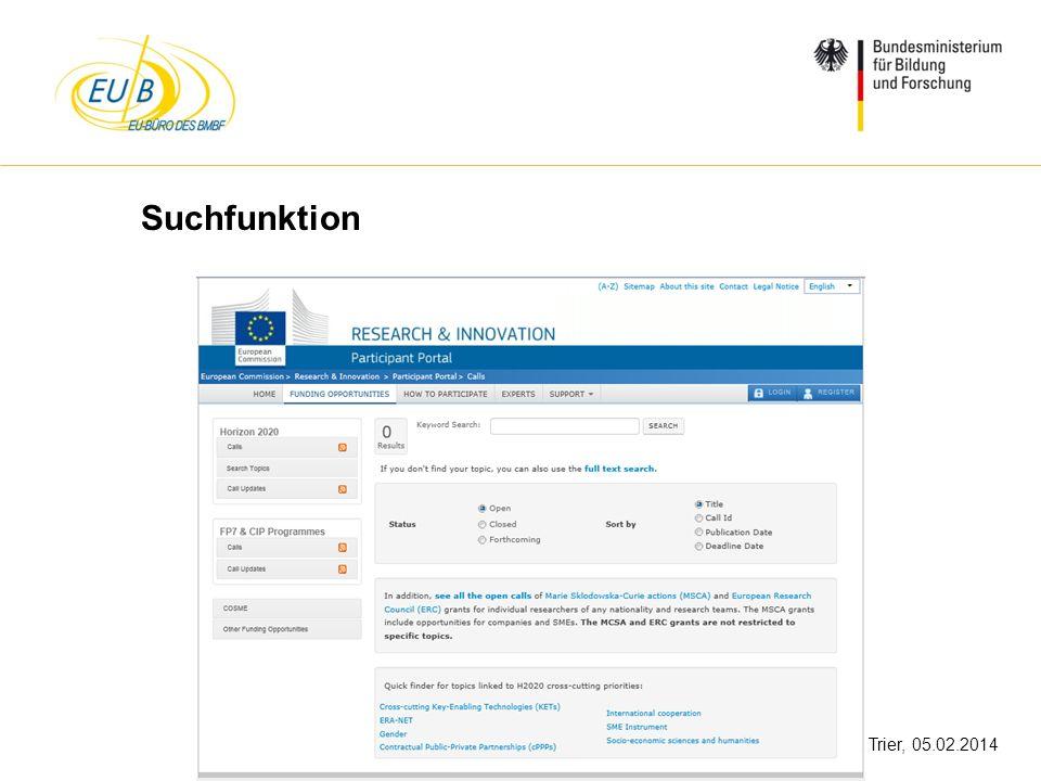 W. Diekmann, IHK Trier, 05.02.2014 Suchfunktion